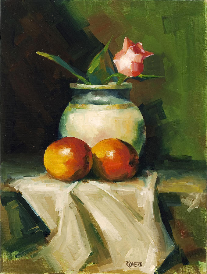 Still Life Painting - Mangoes And Rose by Pepe Romero