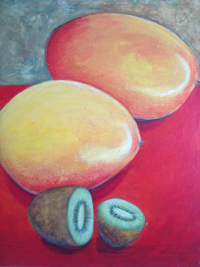 Red Painting - Mangos And Kiwi by Anne Marie Smith