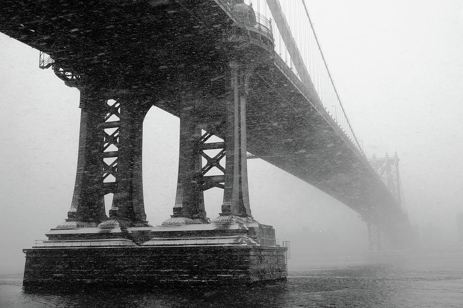 Horizontal Photograph - Manhattan Bridge Durning Winter Snow Storm by Anthony Pitch