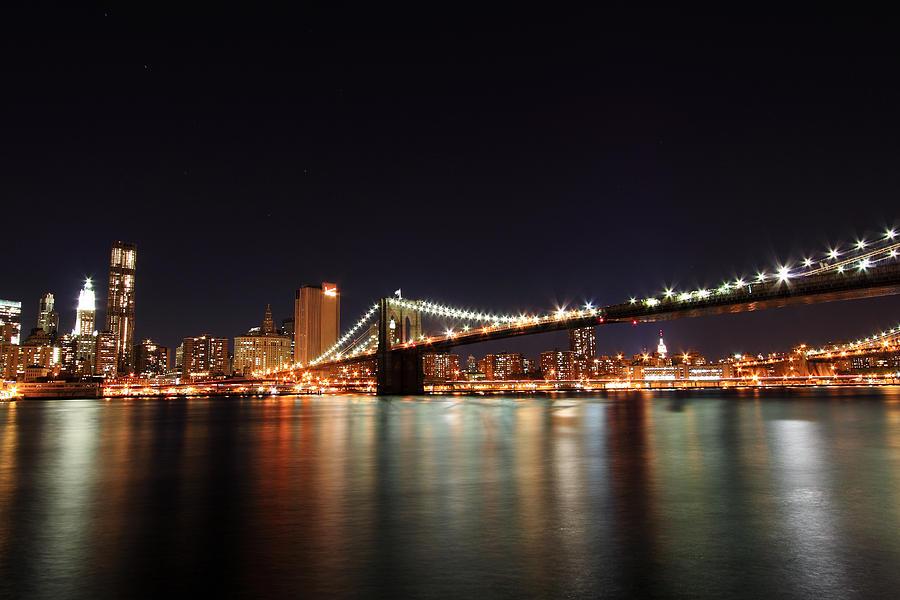 New York City Photograph - Manhattan Nightscape With Brooklyn Bridge by Kean Poh Chua