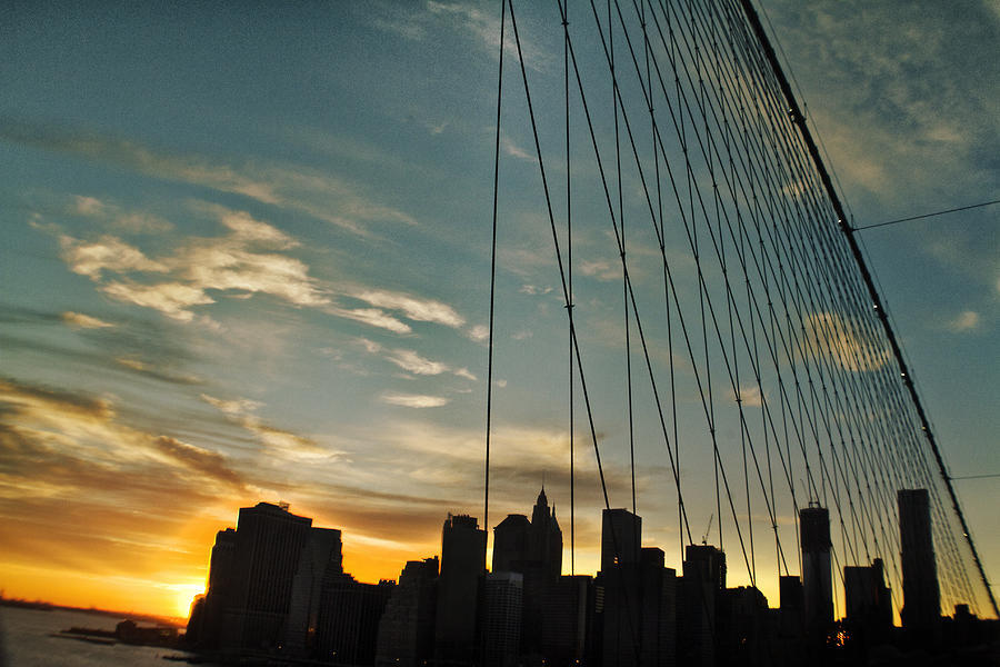 Brooklyn Bridge Photograph - Manhattan Through The Bridge by Alex AG