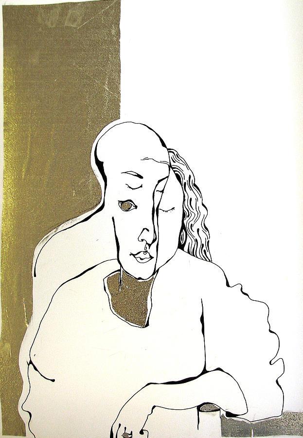 Gold Drawing - Mani by Nina Mirhabibi