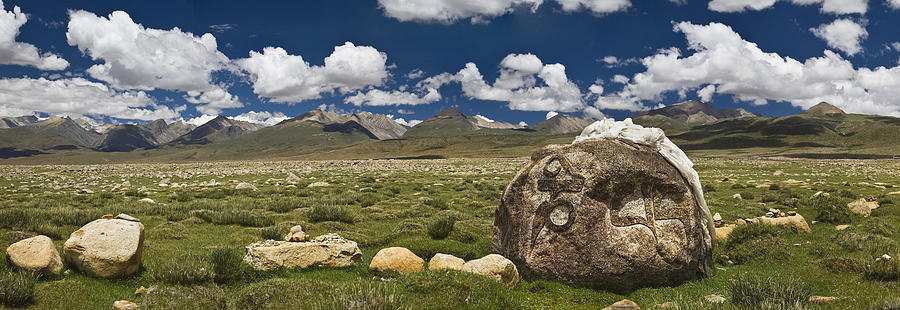 Worshipper Photograph - Mani Rocks Carved With The Tibetan by Phil Borges