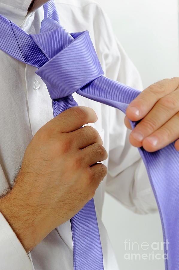 People Photograph - Mans Hands Adjusting Tie by Sami Sarkis
