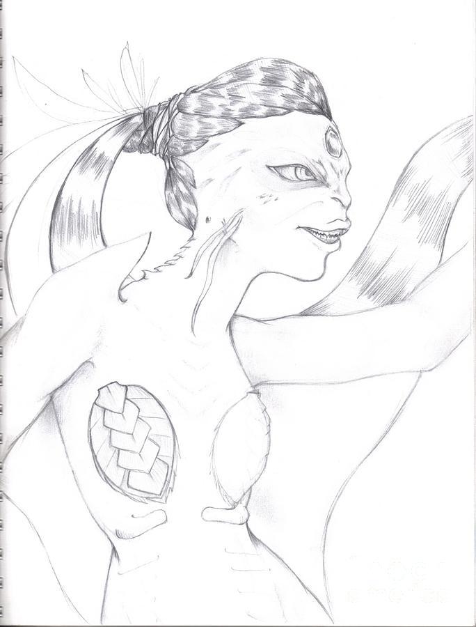Manta Drawing - Manta by Michelle Pedro