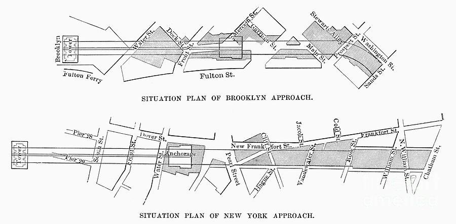 19th Century Photograph - Map: Brooklyn Bridge by Granger