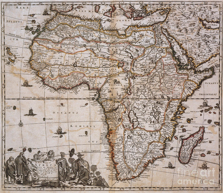 Map Photograph - Map Of Africa, 1688 by Photo Researchers