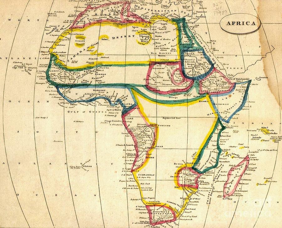 Pd Mixed Media - Map Of Africa 1812 by Pg Reproductions