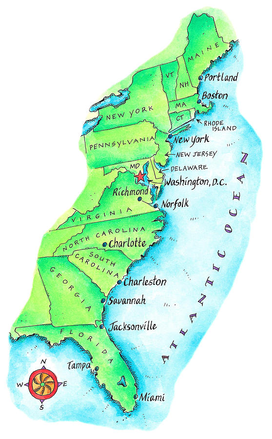 Map Of American East Coast Digital Art By Jennifer Thermes - Map of the east coast united states