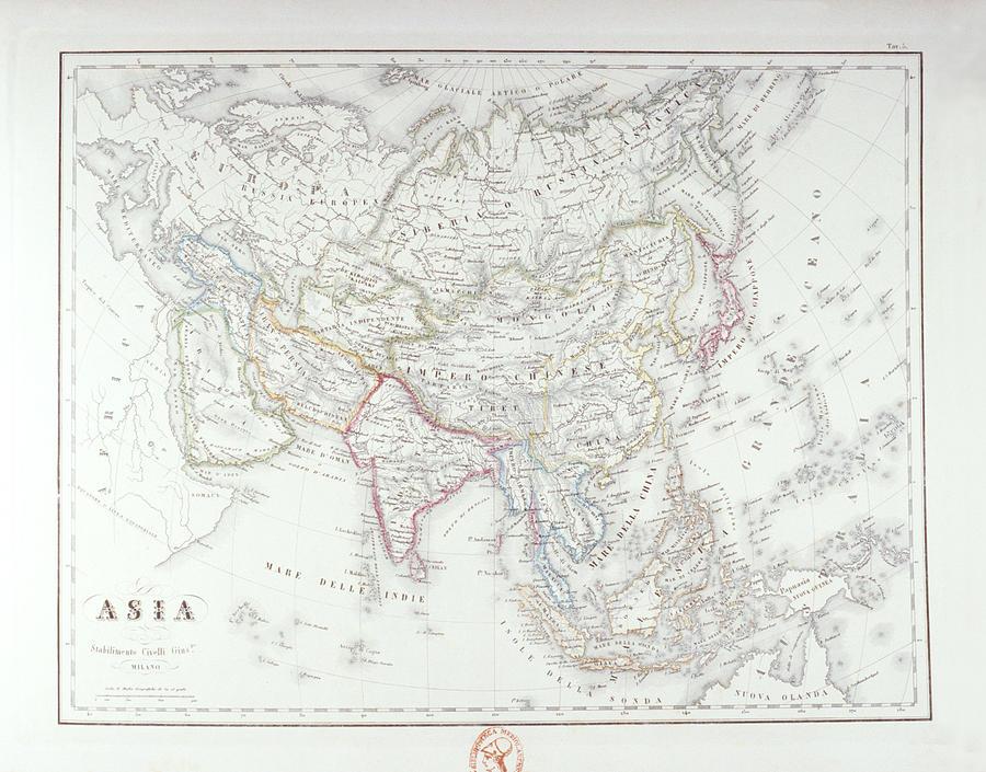Horizontal Digital Art - Map Of Asia by Fototeca Storica Nazionale