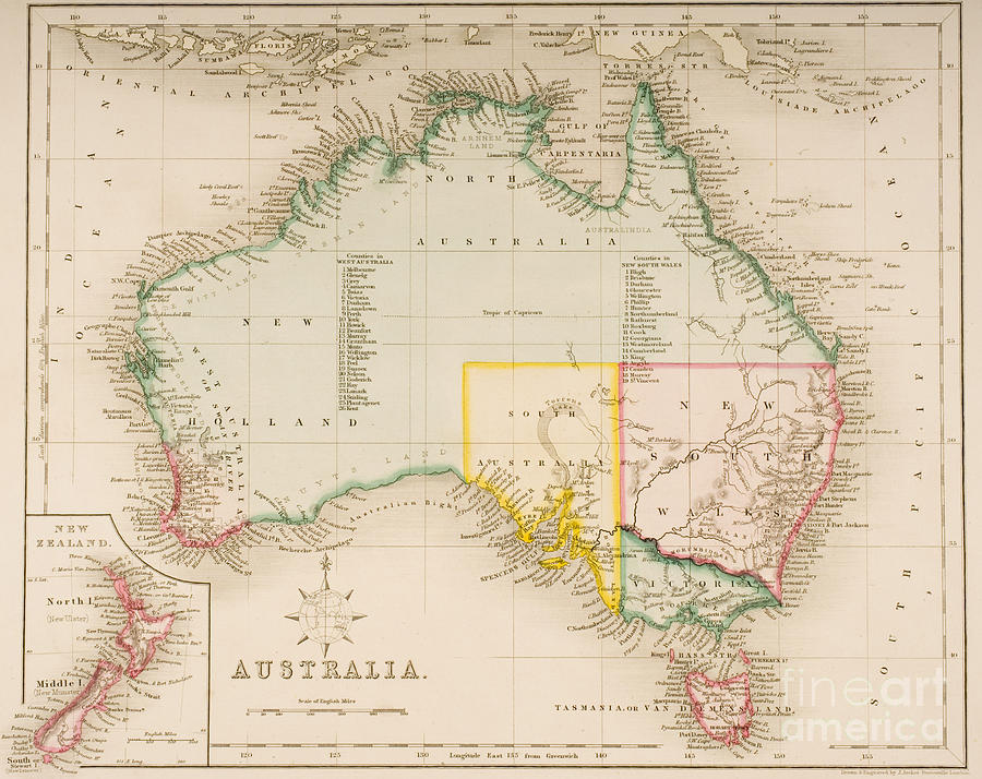 Maps Painting - Map Of Australia And New Zealand by J Archer