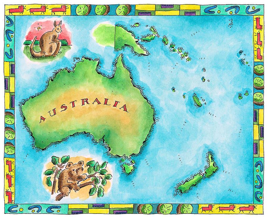 Horizontal Digital Art - Map Of Australia by Jennifer Thermes