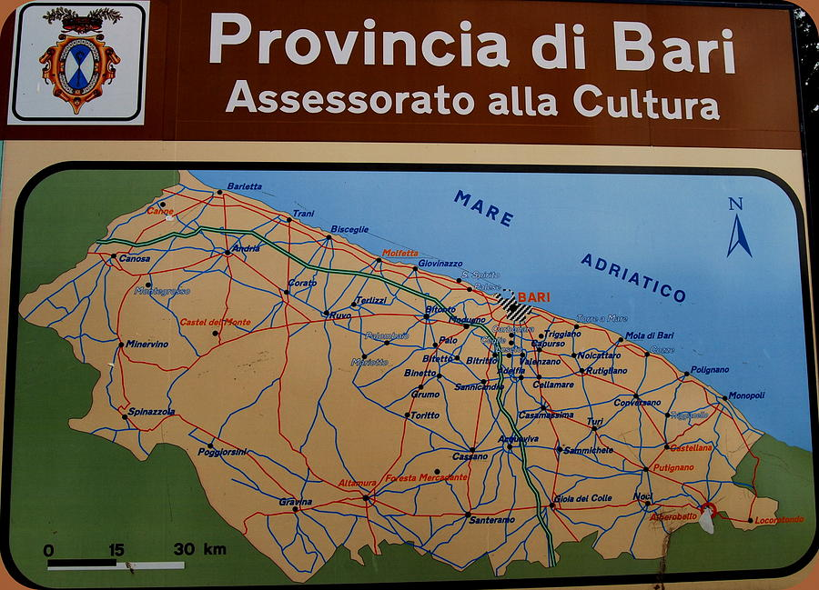 Map Of Bari Italy Photograph by Caroline Stella