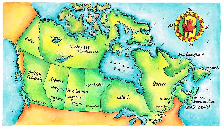 Map Of Canada Digital Art by Jennifer Thermes
