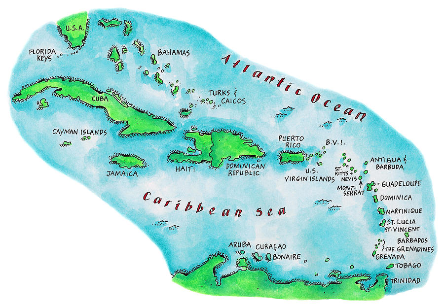Map Of Caribbean Islands Digital Art by Jennifer Thermes