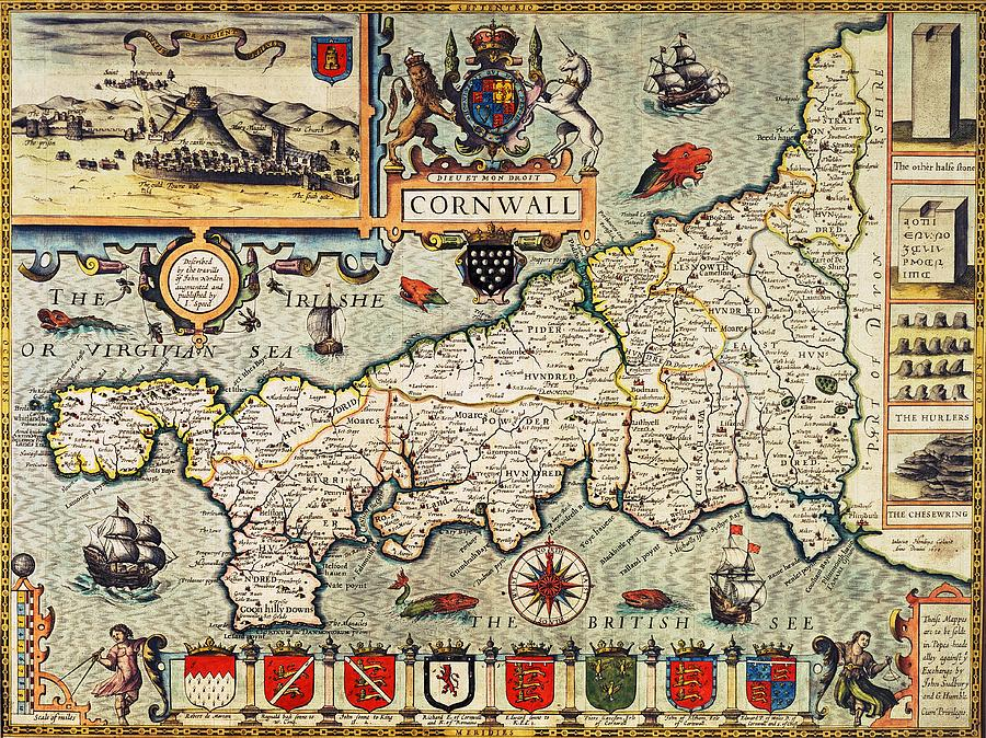 Maps Drawing - Map Of Cornwall by John Speed