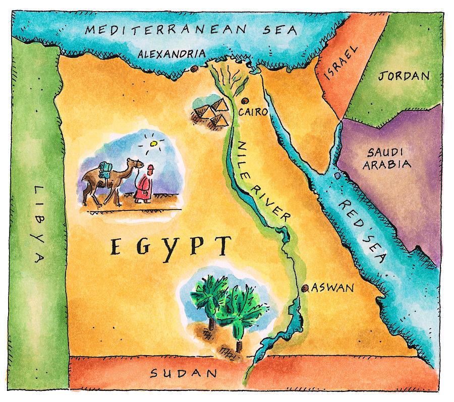 Map Of Egypt Digital Art By Jennifer Thermes - Map of egypt landmarks