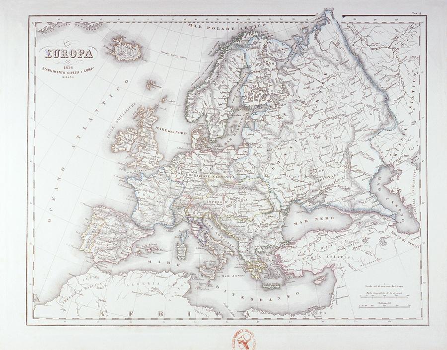 Horizontal Digital Art - Map Of Europe by Fototeca Storica Nazionale