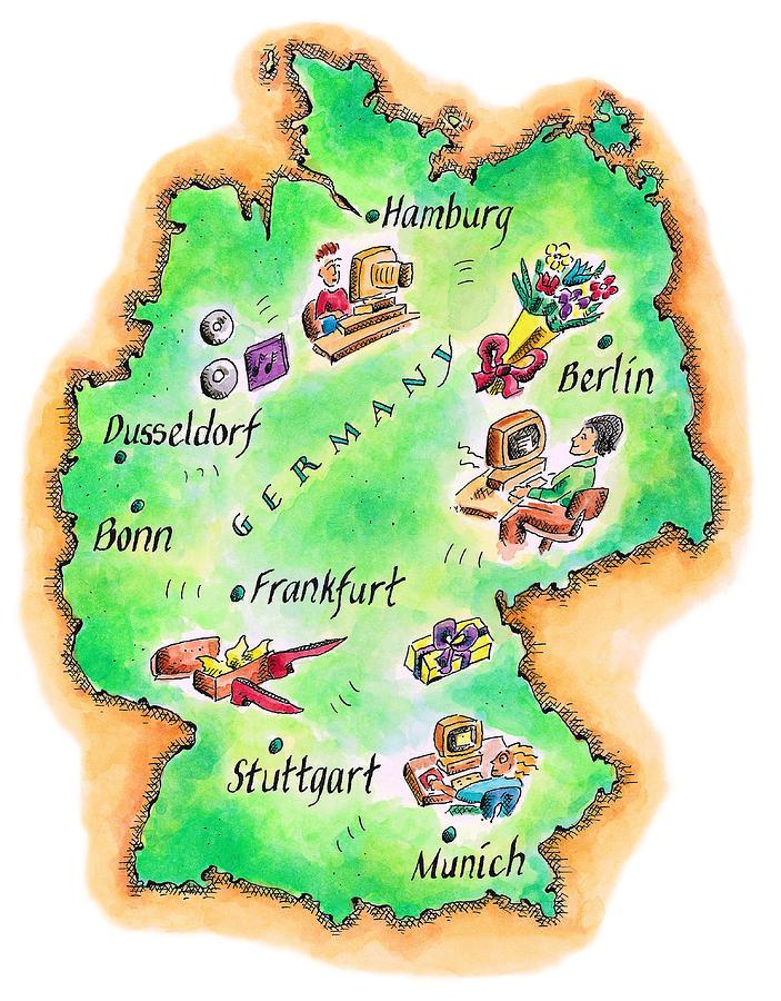 Map Of Germany Digital Art by Jennifer Thermes