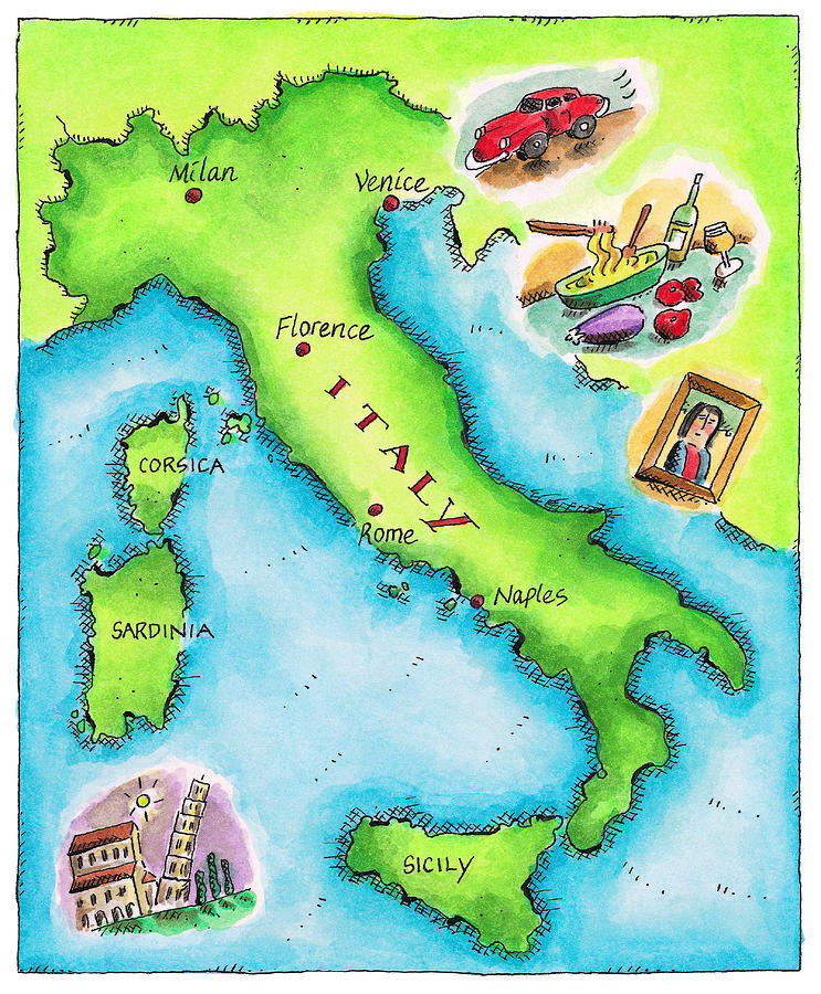 Map Of Italy Digital Art by Jennifer Thermes