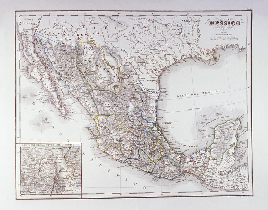 Horizontal Digital Art - Map Of Mexico And Outlines Of Mexico City by Fototeca Storica Nazionale