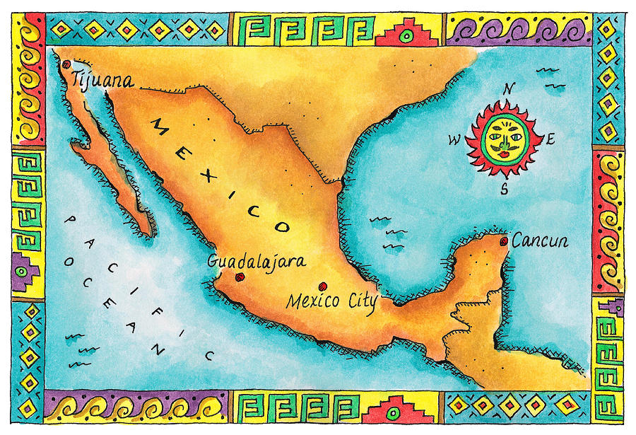 Map Of Mexico Digital Art by Jennifer Thermes – Map of Mexio