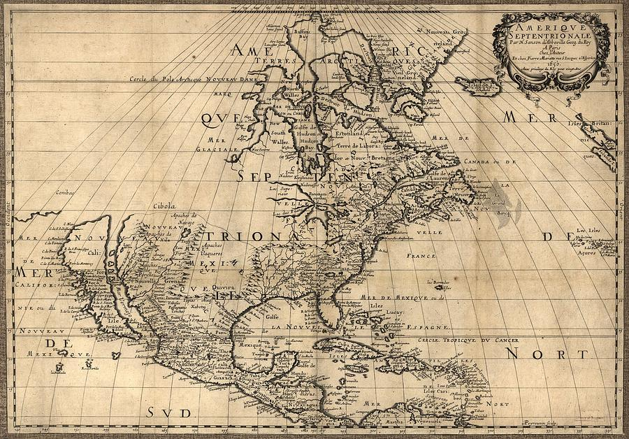 History Photograph - Map Of North America Continent Showing by Everett