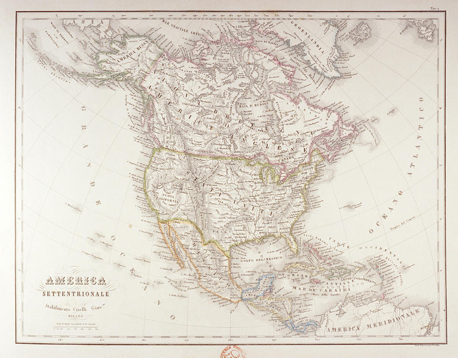 Map Of North America Digital Art by Fototeca Storica Nazionale