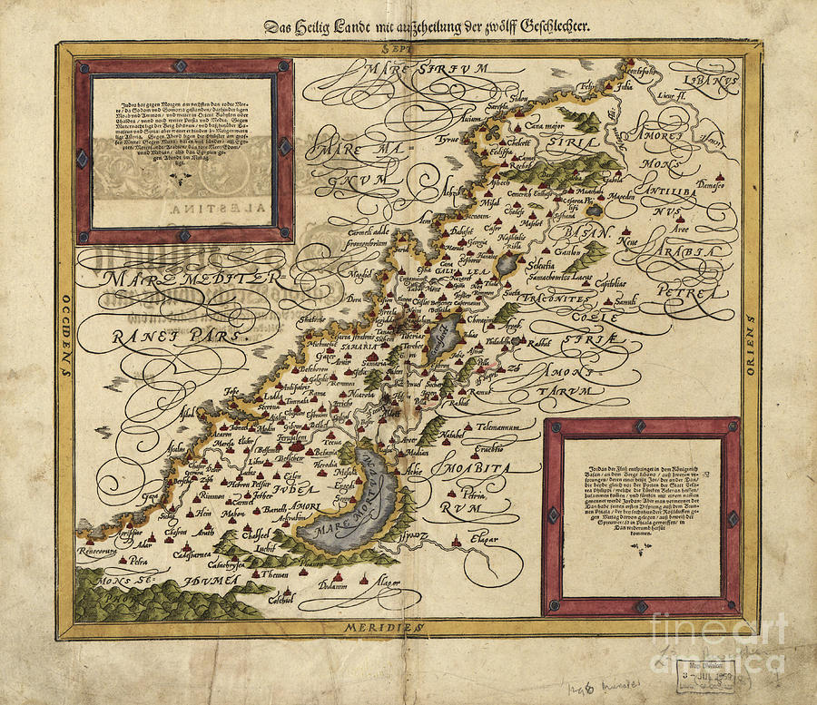 1500s Photograph - Map Of Palestine, 1588 by Photo Researchers