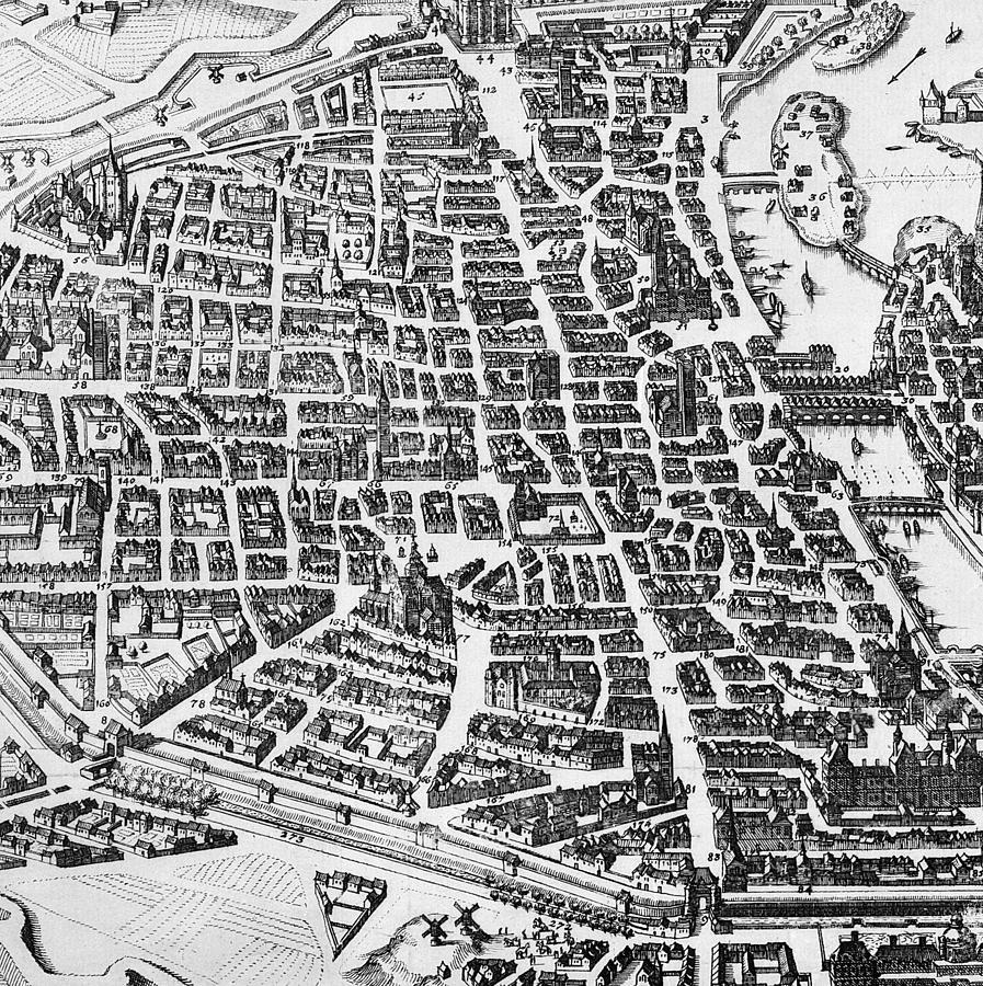 Maps Drawing - Map Of Paris by German School