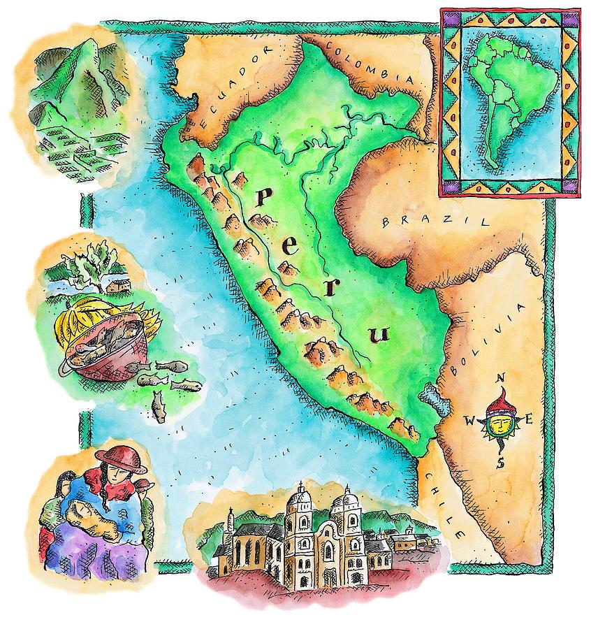 Map Of Peru Digital Art By Jennifer Thermes - Map of peru