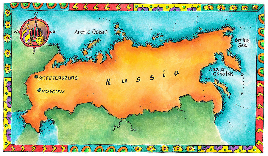 Map Of Russia Digital Art by Jennifer Thermes
