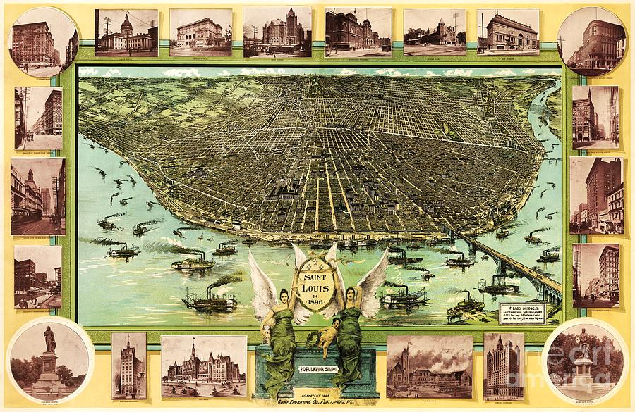 Reproduction Drawing - Map Of Saint Louis by Pg Reproductions