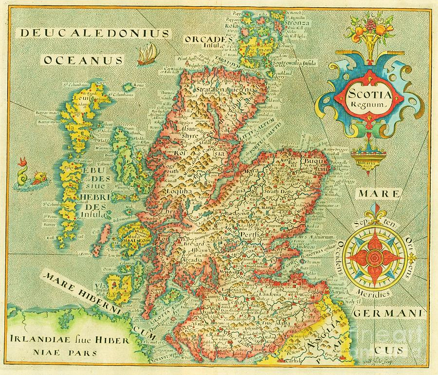 Map Of Scotland Painting By Pg Reproductions - Old map reproductions