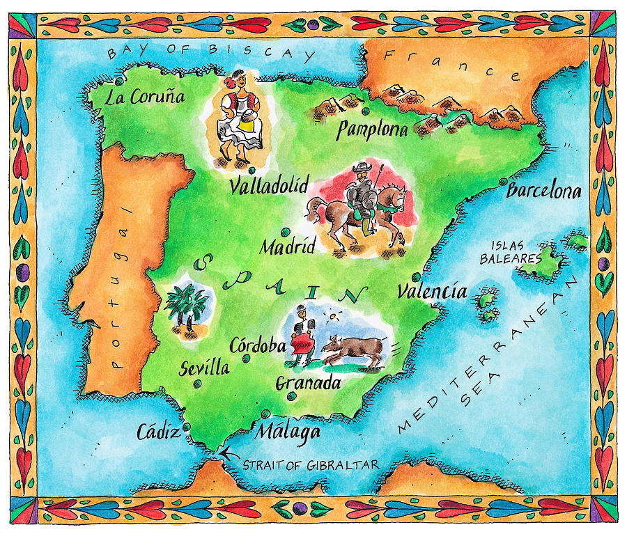 Map Of Spain Digital Art By Jennifer Thermes - Large map of spain