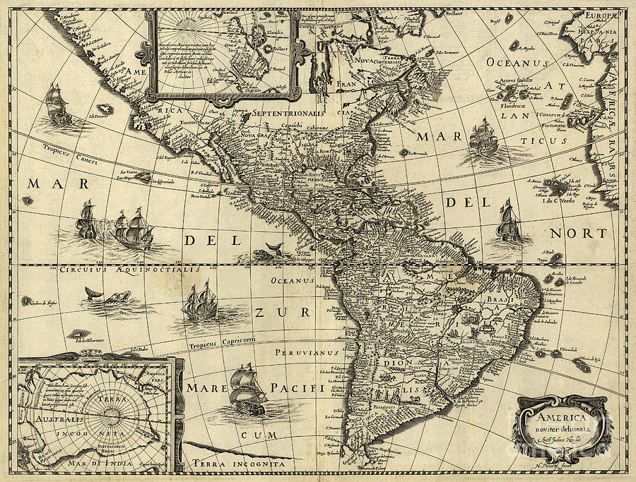 1600s Photograph - Map Of The Americas 1640 by Photo Researchers
