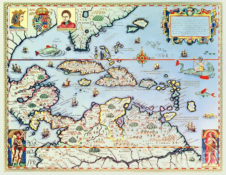 Maps Drawing - Map Of The Caribbean Islands And The American State Of Florida by Theodore de Bry