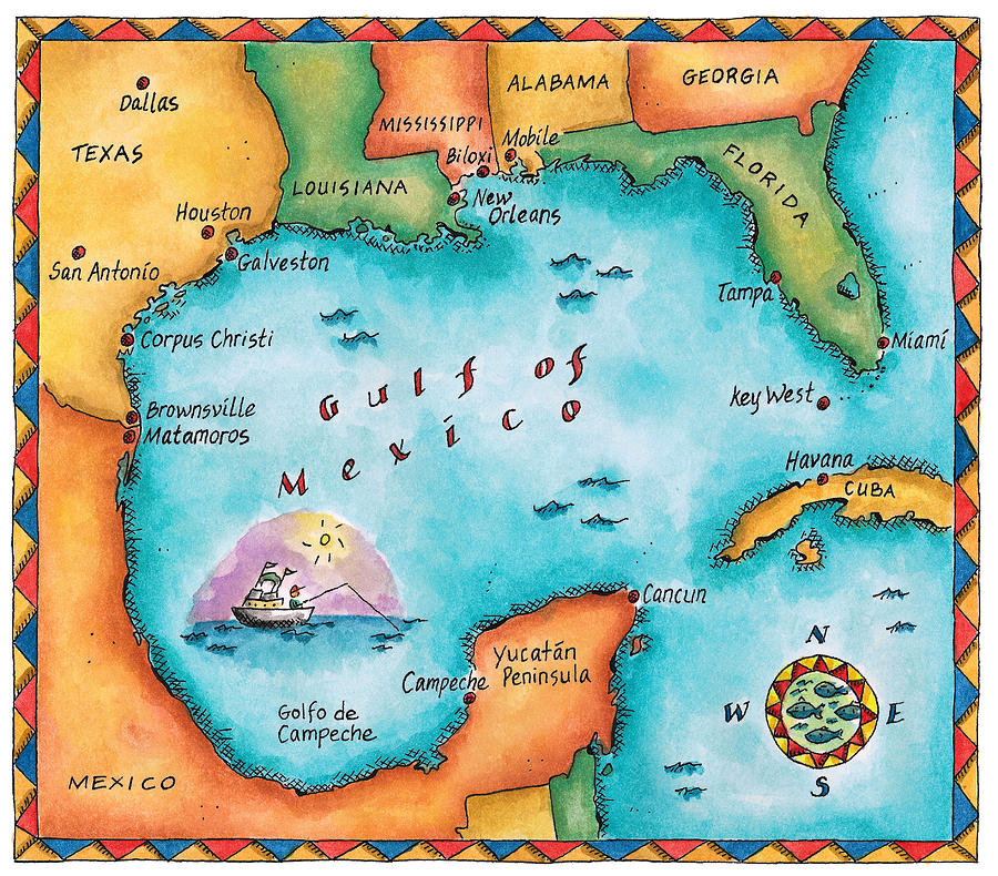 Map Of The Gulf Of Mexico Digital Art by Jennifer Thermes