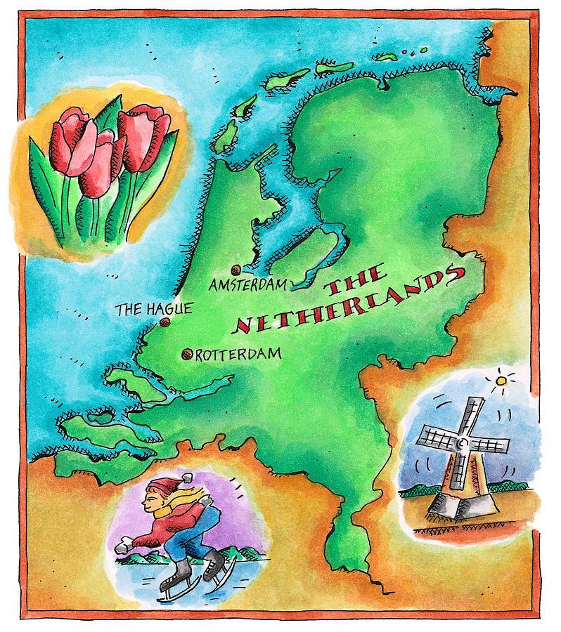 Map Of The Netherlands Digital Art by Jennifer Thermes