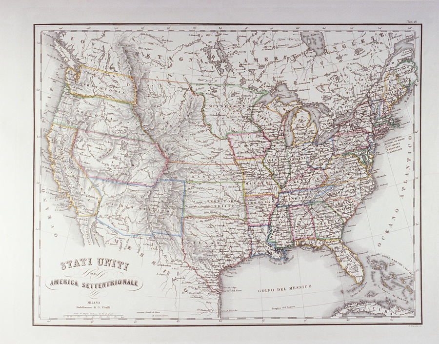Horizontal Digital Art - Map Of The Northen United States by Fototeca Storica Nazionale