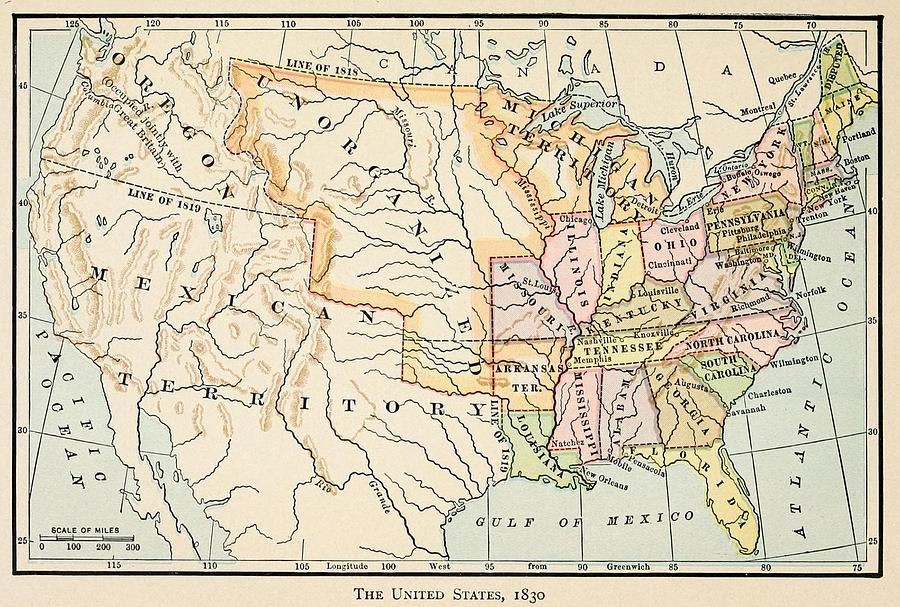 Map Of The United States In Photograph By Everett - Map of us territories in 1830