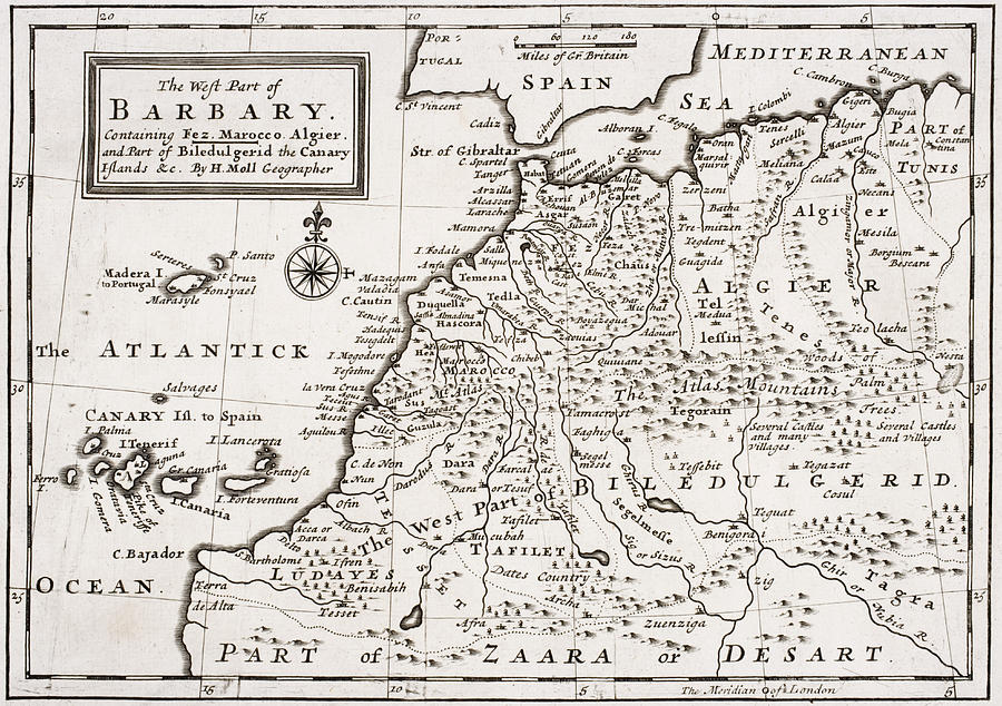 Maps Drawing - Map Of The West Part Of Barbary by Hermann Moll