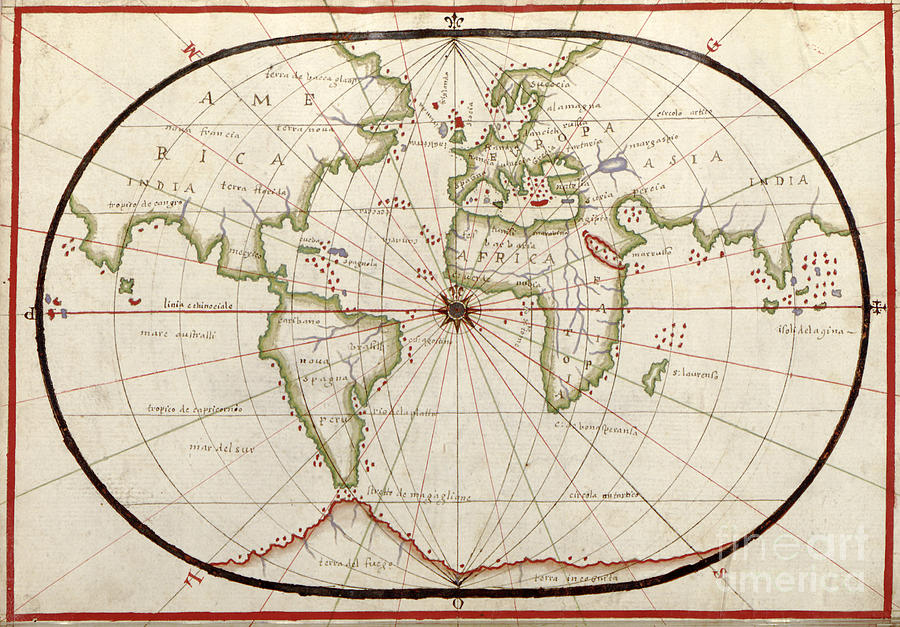 Map Of The World 1590 Photograph By Photo Researchers