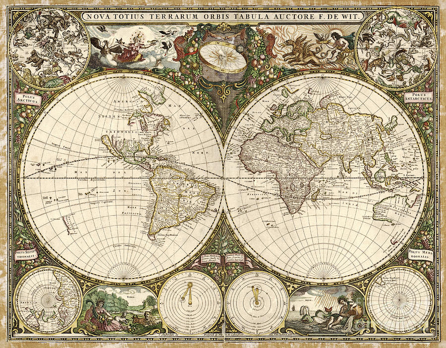 1600s Photograph - Map Of The World, 1660 by Photo Researchers