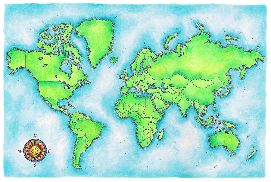 Map Of The World Digital Art by Jennifer Thermes