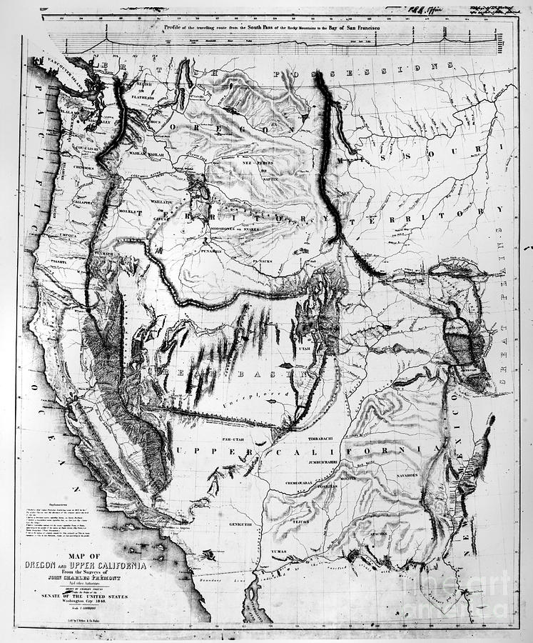 Map Western Us 1848 Photograph by Granger