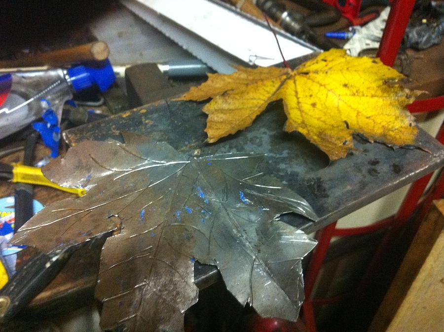 Metal Art Sculpture - Maple Leaf  by Jeremy Pontbriand