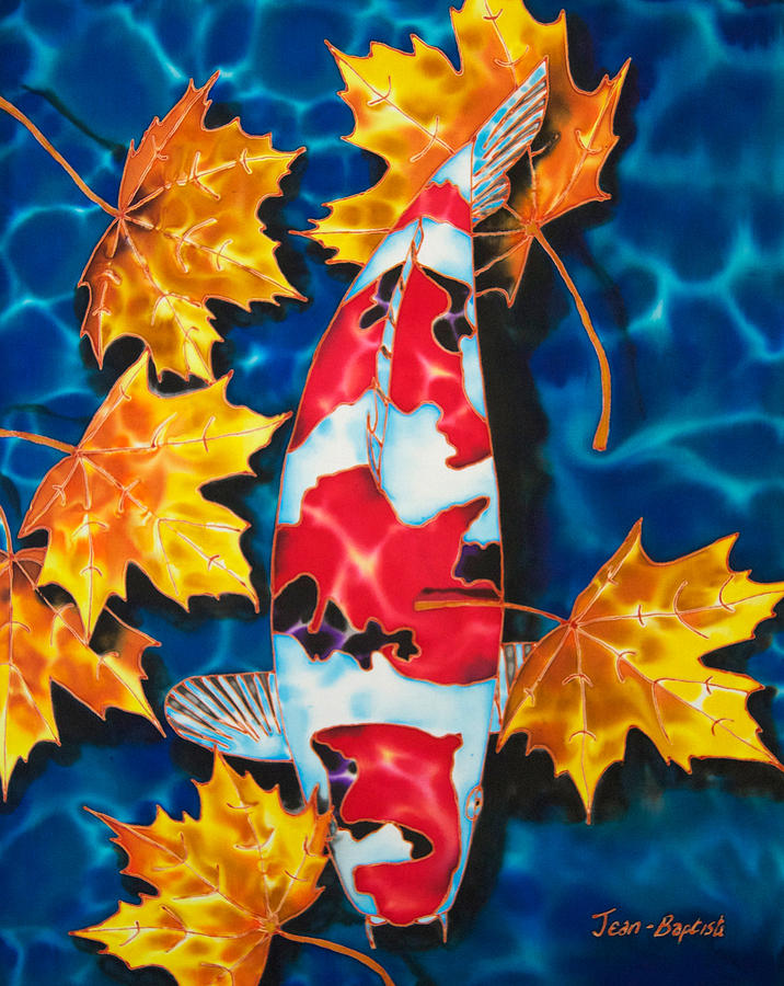 Fish Painting - Maple Leaves And Koi by Daniel Jean-Baptiste