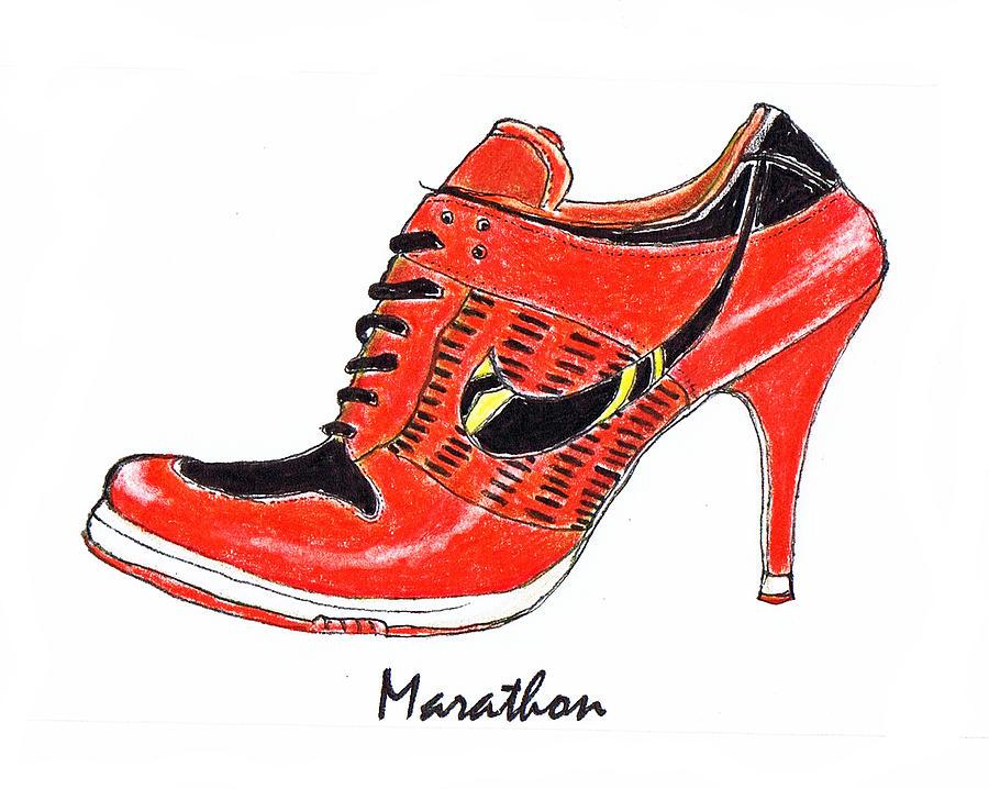 Marathon Drawing - Marathon by Lynn Blake-John