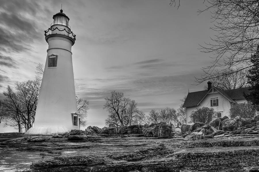 Marblehead Lighthouse and Lightkeeper House in Black and ...
